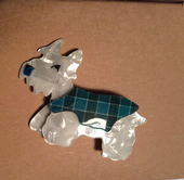 Kimdoo the Terrier Dog Brooch by Lea Stein Paris - real fabric plaid jacket (SOLD)
